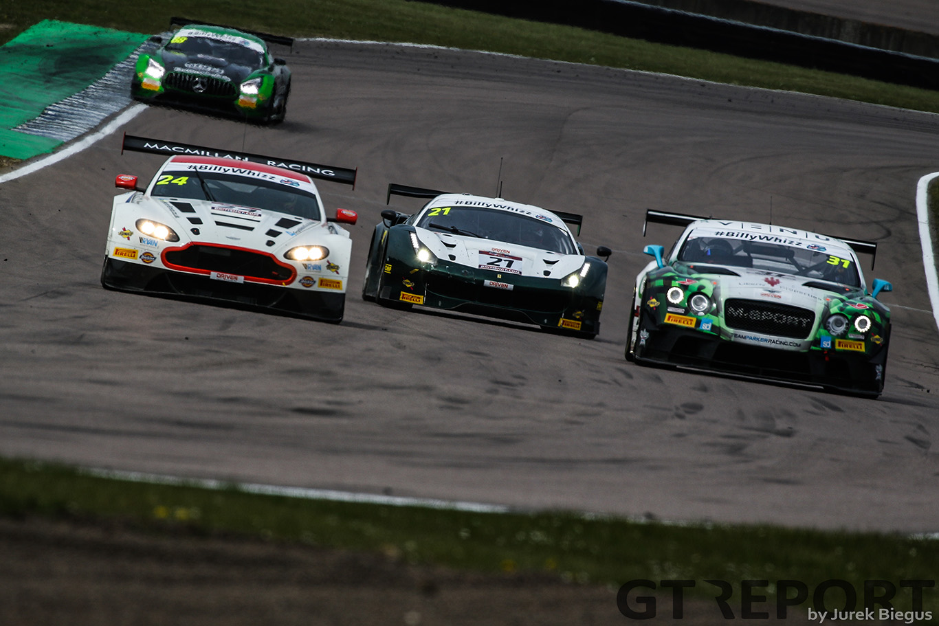 Macmillan AMR | Aston Martin Vantage GT3 | Jack Mitchell | James Littlejohn | Team Parker Racing | Bentley Continental GT3 | Rick Parfitt | Seb Morris | Spirit of Race | Ferrari 488 GT3 | Duncan Cameron | Matt Griffin | British GT Championship | Rockingham Motor Speedway | 30 April 2017 | Photo: Jurek Biegus