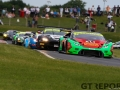 Barwell Motorsport Lamborghini Huracan GT3 with drivers Jon Minshaw & Phil Keen leads at the start of race 2 during the British GT Championship at Snetterton Circuit. Photo: Jurek Biegus.