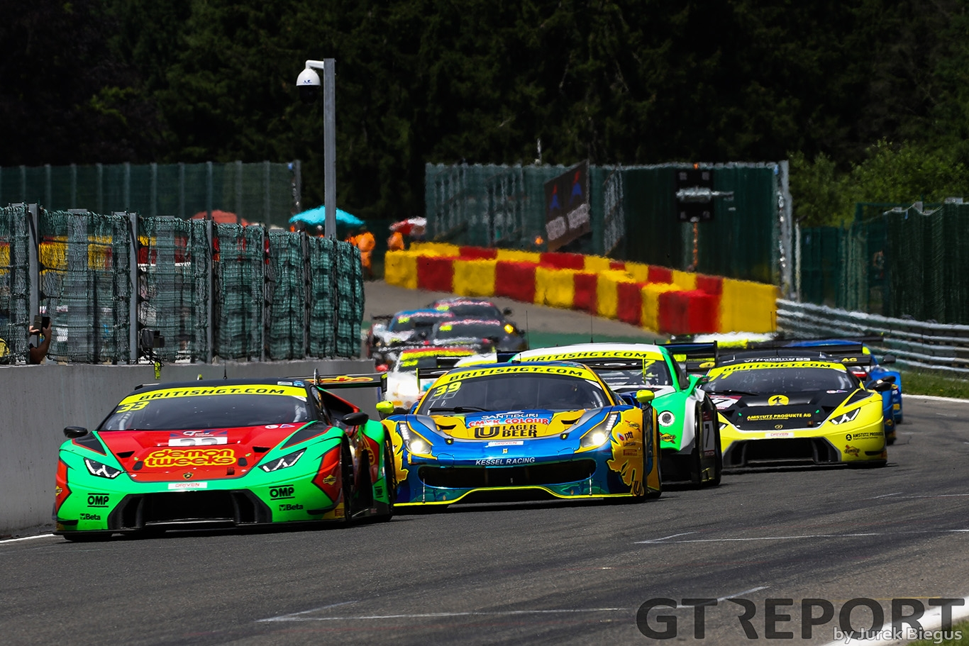 Barwell Motorsport Lamborghini Huracan GT3 with drivers Jon Minshaw & Phil Keen leads at the start of race 2 during the British GT Championship at Circuit de Spa-Francorchamps, Stavelot, Belgium on 8 July 2017. Photo by Jurek Biegus.