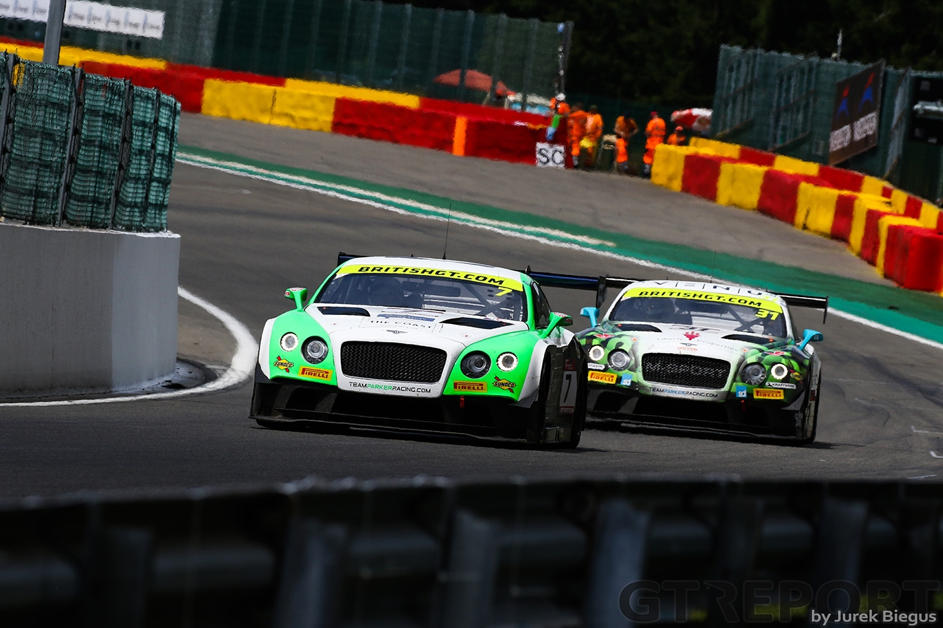 Team Parker Racing Bentley Continental GT3 with drivers Ian Loggie & Callum Macleod ahead of Team Parker Racing Bentley Continental GT3 with drivers Rick Parfitt & Seb Morris during the British GT Championship at Circuit de Spa-Francorchamps, Stavelot, Belgium on 8 July 2017. Photo by Jurek Biegus.